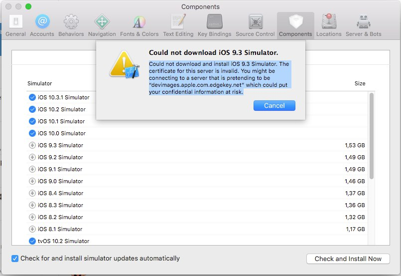 Xcode ios 9.3 simulator Error
